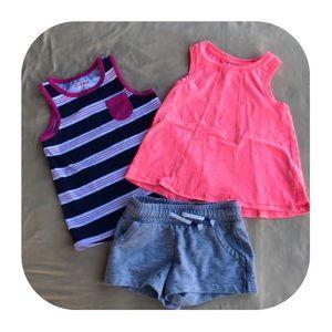 Cat & Jack 2 tank tops & shorts girls 4T